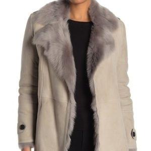 Burberry Lambskin Leather & Genuine Lamb Fur Trim